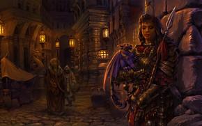 Обои Warrior, ночь, фонари, улица, люди