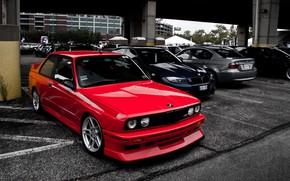 Картинка BMW, Grey, RED, STYLE, GOODFON, BLUE, WHELLS, PARKING, LIGHY, BMW E30 M3