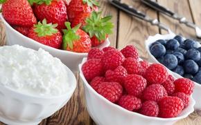 Картинка ягоды, малина, черника, клубника, fresh, strawberry, blueberry, творог, berries, raspberry