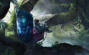 Картинка Космонавт, Джунгли, Jungle, Crytek, Raptors, Хищники, Robinson: The Journey