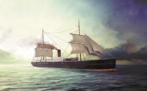 Картинка волны, корабль, Transatlantic Ships, pommerania