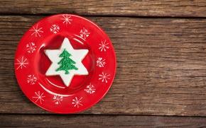 Картинка Новый Год, тарелка, Рождество, wood, merry christmas, decoration, xmas, fir tree