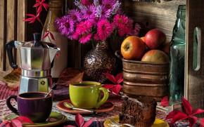 Картинка листья, цветы, яблоки, кофе, букет, кружки, натюрморт, тортик, астры, кофеварка