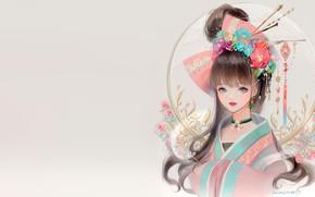 Картинка девушка, цветы, фентези, аниме, арт, кимоно, dadachyo, кандзаси