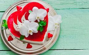 Картинка листья, цветы, красный, сердце, тарелка, сердечки, торт, белые, орхидеи, День святого Валентина