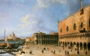 Картинка картина, городской пейзаж, Каналетто, Моло у Дворца Дожей в Венеции, Giovanni Antonio Canal