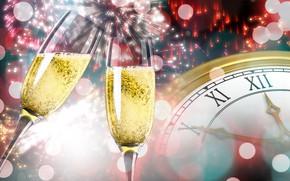 Картинка часы, новый год, бокалы, фейерверк, шампанское, боке
