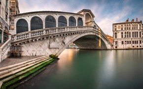 Картинка Италия, Венеция, канал, Italy, Venice, cityscape, Panorama, channel, Rialto Bridge, San Bartolomeo Church