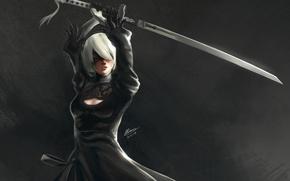 Картинка девушка, робот, меч, повязка, киборг, art, NieR: Automata, YoRHa No.2 Type B