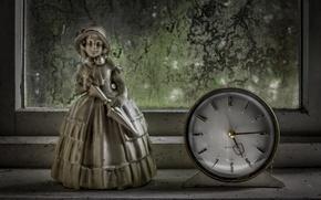 Картинка часы, окно, статуэтка