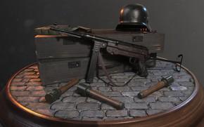 Обои WW2 German Soldier's Equipment, арт, Rafael Maia Nicolazzi, оружие