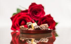 Картинка подарок, розы, конфеты, шоколадные