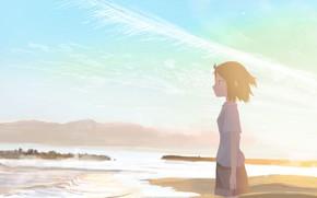 Картинка море, девушка, природа
