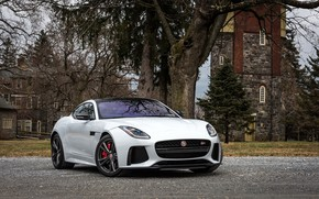 Картинка Jaguar, House, F-Type, Trees, SVR