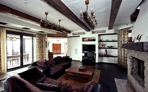 Картинка вилла, интерьер, камин, гостиная, стиль Шале