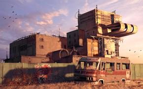 Картинка граффити, забор, автобус, строение, Abandoned