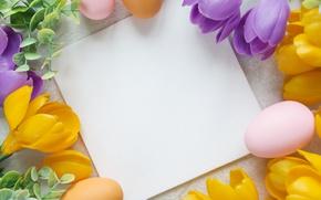 Картинка цветы, Пасха, flowers, spring, Easter, eggs, Happy