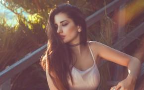 Картинка Girl, Beautiful, Lips, Eye, Railing, Sight, Tropic, Raquel Puente