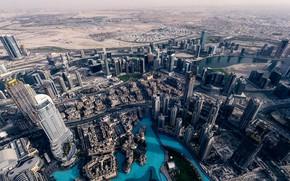 Картинка город, панорама, Дубай, вид сверху