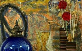 Картинка цветок, стена, ваза, натюрморт