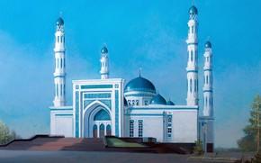 Картинка пейзаж, Айбек Бегалин, 2013г, Мечеть в Караганде