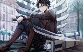 Картинка аниме, арт, Shingeki no Kyojin, Атака титанов, Вторжение гигантов, Леви, Ривай
