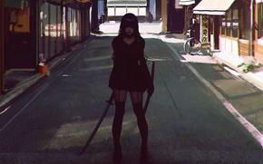 Картинка девушка, улица, япония, меч, катана, чулки, аниме, арт