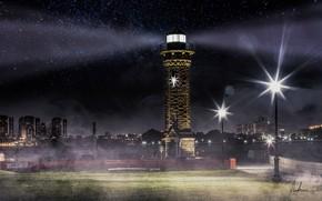 Обои город, звезды, ночь, маяк, лучи света