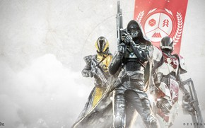 Картинка gun, game, snake, Hunter, armor, weapon, phoenix, lion, flag, Destiny, Warlock, Titan, Destiny 2