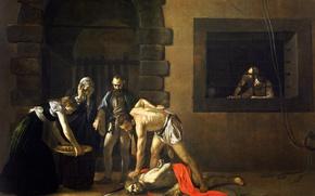 Обои религия, Караваджо, Микеланджело Меризи да Караваджо, мифология, картина, Обезглавливание Иоанна Крестителя