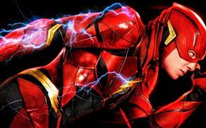 Обои красный, постер, The Flash, DC Comics, Лига справедливости, искры, Justice League, Флэш, комикс, фантастика, черный ...