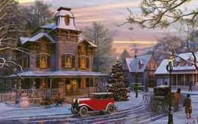 Обои небо, машина, елка, вечер, улица, Dominic Davison, деревья, дома, праздник, снеговик