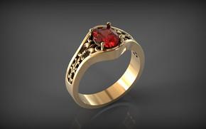 Картинка отражение, фон, золото, перстень, драгоценный камень, Флер-де-Лис, блеск металла, кольцо с рубином