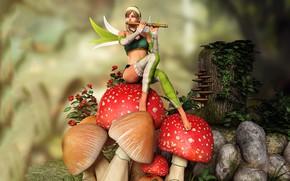 Обои фея, девушка, грибы, флейта