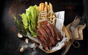 Картинка мясо, салат, чеснок, картофель фри