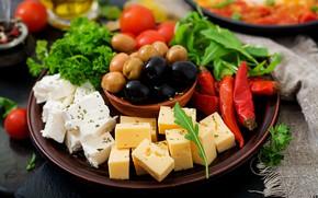 Картинка сыр, перец, оливки, ассорти