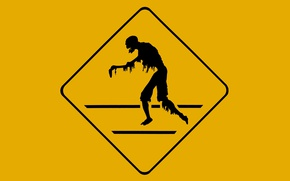 Картинка zombie, black, yellow, poster, silhouette, Danger