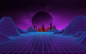 Картинка Музыка, Город, Звезды, Неон, Планета, Космос, Фон, Electronic, Synthpop, Darkwave, Synth, Retrowave, Синти-поп, Синти, Synthwave, …