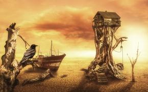 Картинка house, fantasy, digital, crow, art, Desert