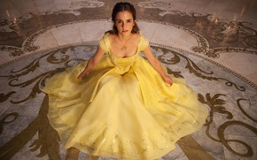 Обои Emma Watson, Disney, mahou, yellow dress, Beauty And The Beast, girl, ciname, blonde, woman, movie, ...