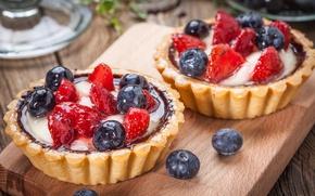 Картинка ягоды, черника, клубника, корзинка, десерт, сладкое, sweet, cream, dessert, berries, delicious, tart, тарталетка