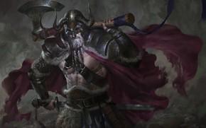 Картинка оружие, меч, доспехи, воин, топор, Викинг
