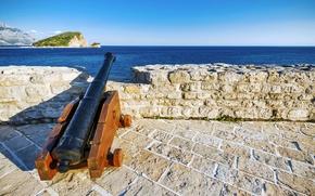 Обои my planet, средневековье, пушка, красивый вид, travel, wallpaper., боке, Черногория, размытость, Будва, основан 2500лет назад, ...