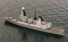 Картинка море, эсминец, HMS, Duncan, (D37)