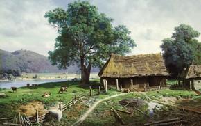 Обои пейзаж, река, картина, сельский дом, Михаил Клодт, Вид в имении Загезаль близ Риги