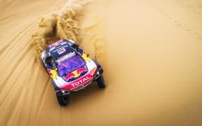 Картинка Песок, Авто, Спорт, Скорость, Гонка, Peugeot, Red Bull, Rally, Dakar, Дакар, Внедорожник, Ралли, Sport, Бездорожье, …