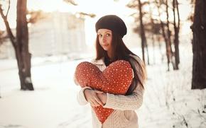 Картинка девушка, сердце, love, heart, winter, romantic
