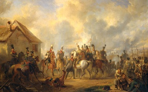 Обои масло, картина, баталия, Николас Пинеман, Битва при Баутерсеме холст