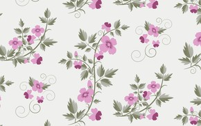Обои vector, текстура, retro, with, flowers, pattern, floral