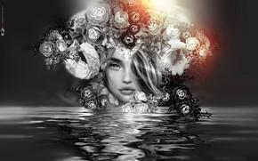 Картинка вода, девушка, цветы, лицо, отражение, венок